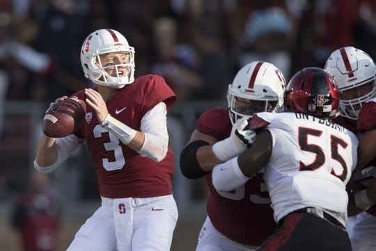August 31, 2018; Stanford, CA, USA; Stanford Cardinal quarterback K.J. Costello (3) passes the football against the San Diego State Aztecs during the first quarter at Stanford Stadium. Mandatory Credit: Kyle Terada-USA TODAY Sports