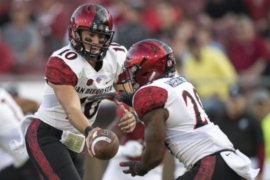 August 31, 2018; Stanford, CA, USA; San Diego State Aztecs quarterback Christian Chapman (10) hands the football to running back Juwan Washington (29) against the Stanford Cardinal during the first quarter at Stanford Stadium. Mandatory Credit: Kyle Terada-USA TODAY Sports