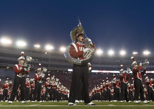 Aug 31, 2018; Madison, WI, USA; The Wisconsin marching band reformed prior to the game against the Western Kentucky Hilltoppers at Camp Randall Stadium. Mandatory Credit: Jeff Hanisch-USA TODAY Sports