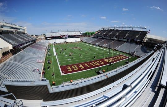 Sep 1, 2018; Chestnut Hill, MA, USA; General view of Alumni Stadium prior to a game between the Boston College Eagles and Massachusetts Minutemen at Alumni Stadium. Mandatory Credit: Bob DeChiara-USA TODAY Sports