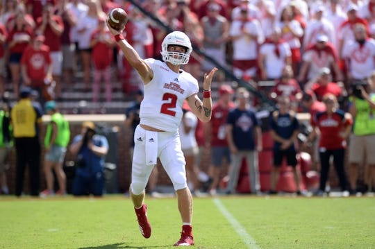 Sep 1, 2018; Norman, OK, USA; Florida Atlantic Owls quarterback Chris Robison (2) passes the ball against the Oklahoma Sooners during the first quarter at Gaylord Family - Oklahoma Memorial Stadium. Mandatory Credit: Mark D. Smith-USA TODAY Sports