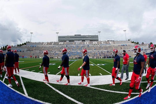 Sep 1, 2018; Colorado Springs, CO, USA; Stony Brook Seawolves players take the field for warm ups ahead of the game against the Air Force Falcons at Falcon Stadium. Mandatory Credit: Isaiah J. Downing-USA TODAY Sports