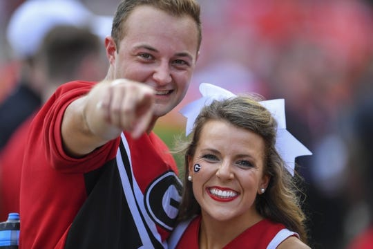 Sep 1, 2018; Athens, GA, USA; Georgia Bulldogs cheerleaders shown prior to the game  against the Austin Peay Governors at Sanford Stadium. Mandatory Credit: Dale Zanine-USA TODAY Sports