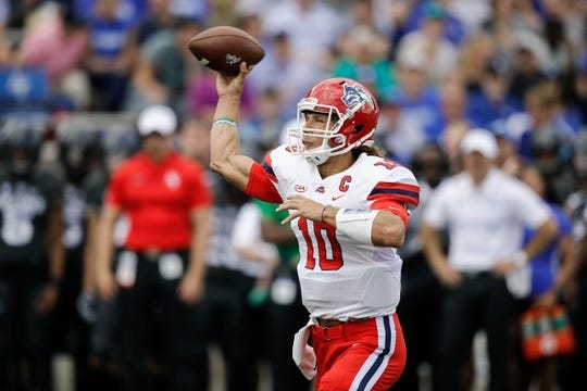 Sep 1, 2018; Colorado Springs, CO, USA; Stony Brook Seawolves quarterback Joe Carbone (10) passes in the first quarter against the Air Force Falcons at Falcon Stadium. Mandatory Credit: Isaiah J. Downing-USA TODAY Sports