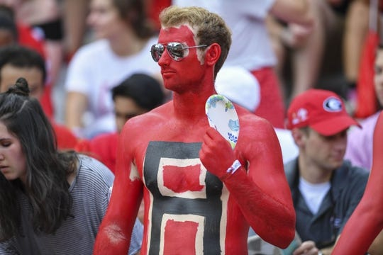 Sep 1, 2018; Athens, GA, USA; Georgia Bulldogs students shown prior to the game  against the Austin Peay Governors at Sanford Stadium. Mandatory Credit: Dale Zanine-USA TODAY Sports