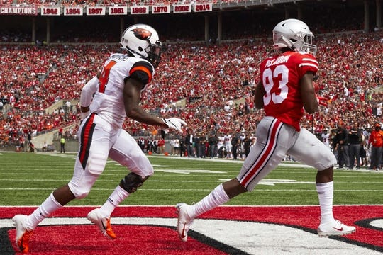 Sep 1, 2018; Columbus, OH, USA; State Buckeyes wide receiver Terry McLaurin (83) scores a touchdown at Ohio Stadium against the Oregon State Beavers. Mandatory Credit: Rick Osentoski-USA TODAY Sports Ohio