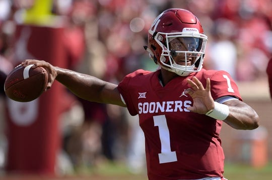 Sep 1, 2018; Norman, OK, USA; Oklahoma Sooners quarterback Kyler Murray (1) warms up prior to action against the Florida Atlantic Owls at Gaylord Family - Oklahoma Memorial Stadium. Mandatory Credit: Mark D. Smith-USA TODAY Sports