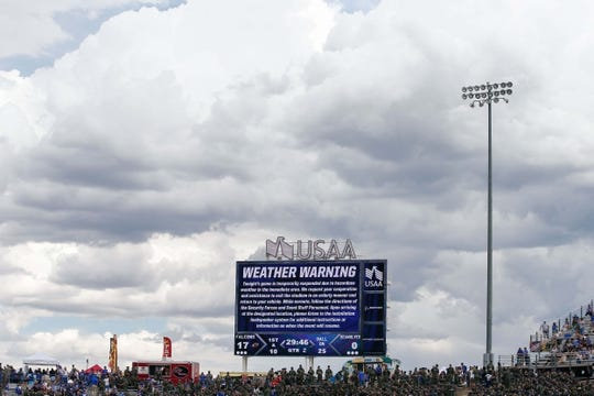 Sep 1, 2018; Colorado Springs, CO, USA; Fans exit the stadium during a weather delay in the second quarter of the game between the Air Force Falcons and the Stony Brook Seawolves at Falcon Stadium. Mandatory Credit: Isaiah J. Downing-USA TODAY Sports