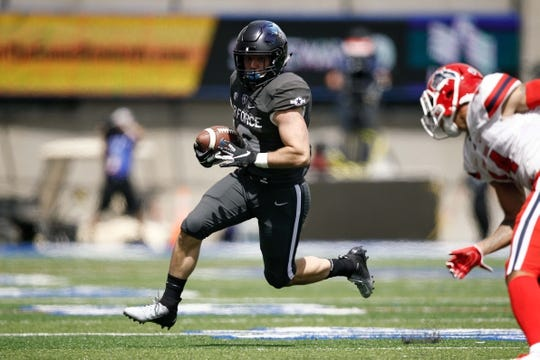 Sep 1, 2018; Colorado Springs, CO, USA; Air Force Falcons running back Nolan Eriksen (19) runs the ball in the second quarter against the Stony Brook Seawolves at Falcon Stadium. Mandatory Credit: Isaiah J. Downing-USA TODAY Sports