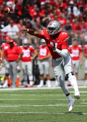 Sep 1, 2018; Columbus, OH, USA; Ohio State Buckeyes quarterback Dwayne Haskins (7) throws during the first quarter against the Oregon State Beavers at Ohio Stadium. Mandatory Credit: Joe Maiorana-USA TODAY Sports