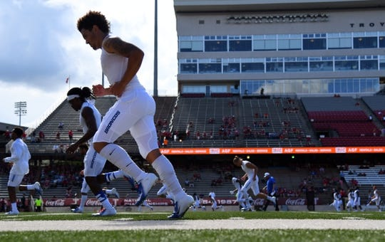 Sep 1, 2018; Troy, AL, USA; Boise State Broncos players warm up before the game against the Troy Trojans at Veterans Memorial Stadium. Mandatory Credit: Christopher Hanewinckel-USA TODAY Sports