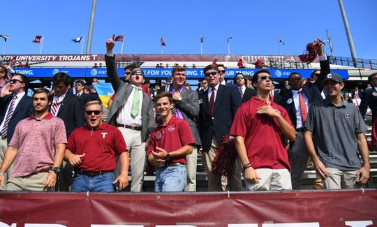 Sep 1, 2018; Troy, AL, USA; Troy Trojans fans boo as Boise State Broncos players take the field for warmups before the game at Veterans Memorial Stadium. Mandatory Credit: Christopher Hanewinckel-USA TODAY Sports