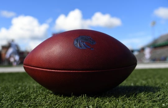 Sep 1, 2018; Troy, AL, USA; View of a Boise State Broncos football before the game against the Troy Trojans at Veterans Memorial Stadium. Mandatory Credit: Christopher Hanewinckel-USA TODAY Sports