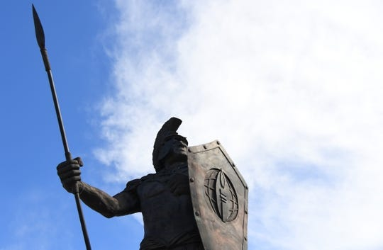 Sep 1, 2018; Troy, AL, USA; View of a Troy Trojans statue before the game against the Boise State Broncosat Veterans Memorial Stadium. Mandatory Credit: Christopher Hanewinckel-USA TODAY Sports
