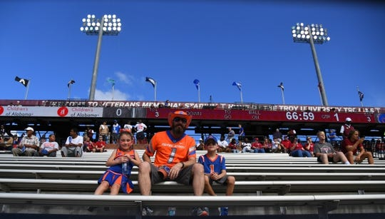Sep 1, 2018; Troy, AL, USA; Boise State Broncos fans look on from the stands before the game against the Troy Trojans at Veterans Memorial Stadium. Mandatory Credit: Christopher Hanewinckel-USA TODAY Sports