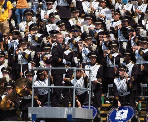 Sep 1, 2018; Berkeley, CA, USA; California Golden Bears band director during the first quarter at California Memorial Stadium. Mandatory Credit: Kelley L Cox-USA TODAY Sports