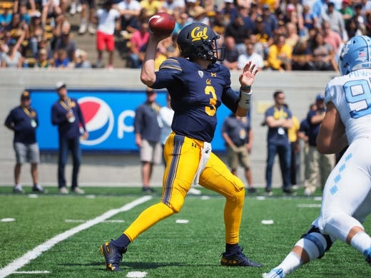 Sep 1, 2018; Berkeley, CA, USA; California Golden Bears quarterback Ross Bowers (3) throws the ball against the North Carolina Tar Heels during the first quarter at California Memorial Stadium. Mandatory Credit: Kelley L Cox-USA TODAY Sports