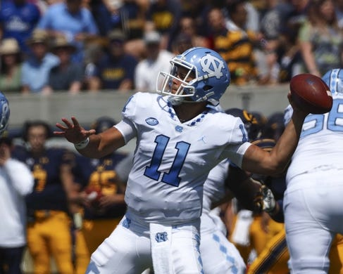 Sep 1, 2018; Berkeley, CA, USA; North Carolina Tar Heels quarterback Nathan Elliott (11) throws the ball against the California Golden Bears during the first quarter at California Memorial Stadium. Mandatory Credit: Kelley L Cox-USA TODAY Sports