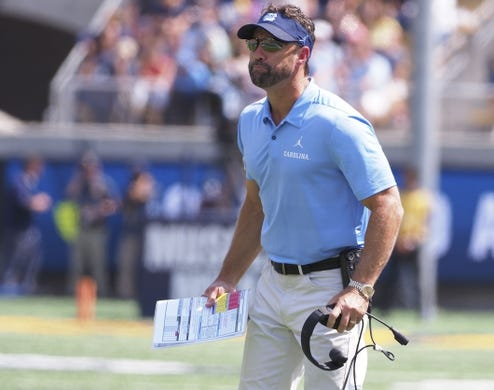 Sep 1, 2018; Berkeley, CA, USA; North Carolina Tar Heels head coach Larry Fedora on the sideline against the California Golden Bears during the second quarter at California Memorial Stadium. Mandatory Credit: Kelley L Cox-USA TODAY Sports