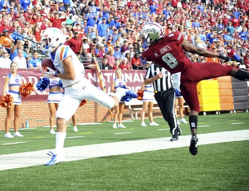 Sep 1, 2018; Troy, AL, USA; Boise State Broncos wide receiver Sean Modster (8) catches a pass in the end zone past coverage by Troy Trojans cornerback Marcus Jones (8) during the first half at Veterans Memorial Stadium. Mandatory Credit: Christopher Hanewinckel-USA TODAY Sports