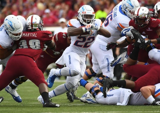 Sep 1, 2018; Troy, AL, USA; Boise State Broncos running back Alexander Mattison (22) runs for a short gain during the first half against the Troy Trojans at Veterans Memorial Stadium. Mandatory Credit: Christopher Hanewinckel-USA TODAY Sports