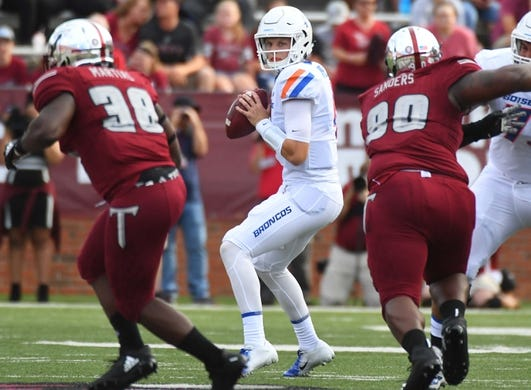 Sep 1, 2018; Troy, AL, USA; Boise State Broncos quarterback Brett Rypien (4) drops back to pass during the first half against the Troy Trojans at Veterans Memorial Stadium. Mandatory Credit: Christopher Hanewinckel-USA TODAY Sports