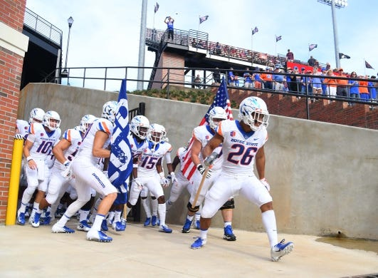 Sep 1, 2018; Troy, AL, USA; Boise State Broncos players take the field before the game against the Troy Trojans at Veterans Memorial Stadium. Mandatory Credit: Christopher Hanewinckel-USA TODAY Sports