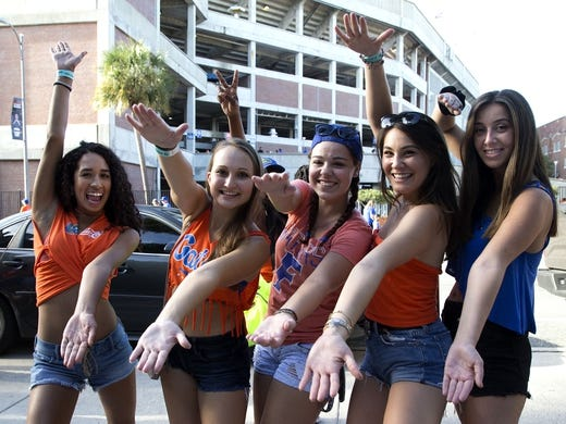 Sep 1, 2018; Gainesville, FL, USA;  Florida Gator fans  before hosting the Charleston Southern Buccaneers at Ben Hill Griffin Stadium. Mandatory Credit: Glenn Beil-USA TODAY Sports