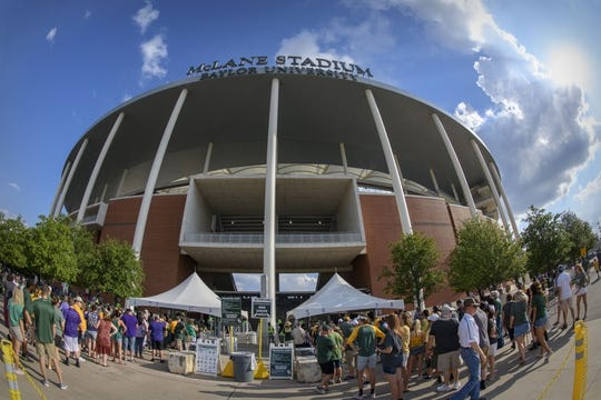 Sep 1, 2018; Waco, TX, USA; A view of the fans entering the stadium before the game between the Baylor Bears and the Abilene Christian Wildcats at McLane Stadium. Mandatory Credit: Jerome Miron-USA TODAY Sports