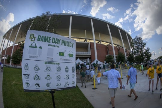 Sep 1, 2018; Waco, TX, USA; A view of the new stadium bag policy before the game between the Baylor Bears and the Abilene Christian Wildcats at McLane Stadium. Mandatory Credit: Jerome Miron-USA TODAY Sports