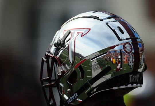 Sep 1, 2018; Troy, AL, USA; View of the Troy Trojans helmet before a game against the Boise State Broncos at Veterans Memorial Stadium. Mandatory Credit: Christopher Hanewinckel-USA TODAY Sports