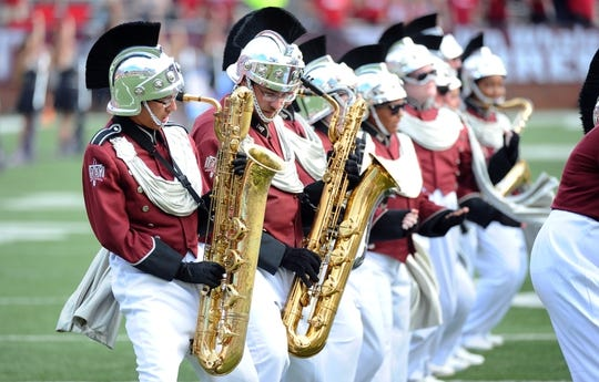 Sep 1, 2018; Troy, AL, USA; Members of the Troy Trojans band perform before a game against the Boise State Broncos at Veterans Memorial Stadium. Mandatory Credit: Christopher Hanewinckel-USA TODAY Sports
