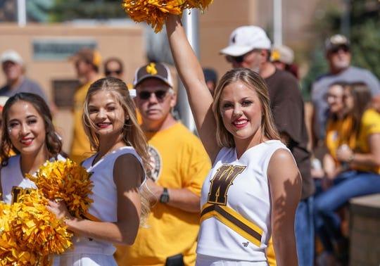 Sep 1, 2018; Laramie, WY, USA; Wyoming Cowboys cheerleader Taylor Ramsaur performs before a game against the Washington State Cougars at Jonah Field War Memorial Stadium. Mandatory Credit: Troy Babbitt-USA TODAY Sports