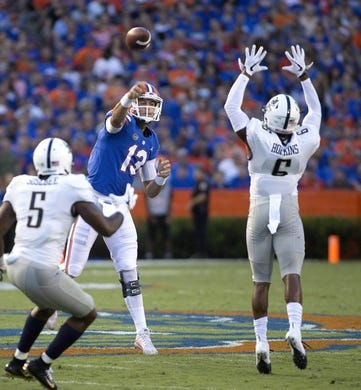 Sep 1, 2018; Gainesville, FL, USA; Florida Gators quarterback Feleipe Franks throws during the first quarter of play against the Charleston Southern Buccaneers at Ben Hill Griffin Stadium. Mandatory Credit: Glenn Beil-USA TODAY Sports