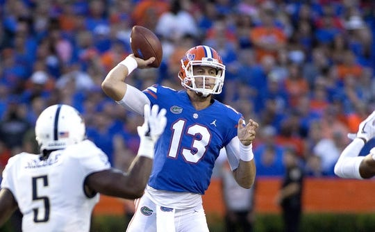 Sep 1, 2018; Gainesville, FL, USA; Florida Gators quarterback Feleipe Franks (13) throws during the first quarter of play against the Charleston Southern Buccaneers at Ben Hill Griffin Stadium. Mandatory Credit: Glenn Beil-USA TODAY Sports