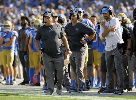 September 1, 2018; Pasadena, CA, USA; UCLA Bruins head coach Chip Kelly watches game action against the Cincinnati Bearcats during the first half at the Rose Bowl. Mandatory Credit: Gary A. Vasquez-USA TODAY Sports