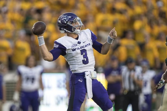 Sep 1, 2018; Waco, TX, USA; Abilene Christian Wildcats quarterback Luke Anthony (3) passes against the Baylor Bears during the first quarter at McLane Stadium. Mandatory Credit: Jerome Miron-USA TODAY Sports