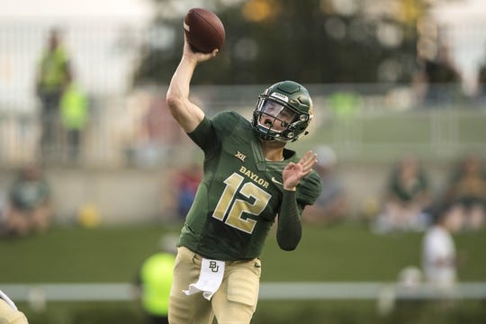Sep 1, 2018; Waco, TX, USA; Baylor Bears quarterback Charlie Brewer (12) passes against the Abilene Christian Wildcats during the first quarter at McLane Stadium. Mandatory Credit: Jerome Miron-USA TODAY Sports