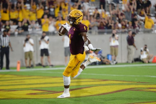 Sep 1, 2018; Tempe, AZ, USA; Arizona State Sun Devils wide receiver N'Keal Harry (1) scores a touchdown against the UTSA Roadrunners during the first half at Sun Devil Stadium. Mandatory Credit: Joe Camporeale-USA TODAY Sports