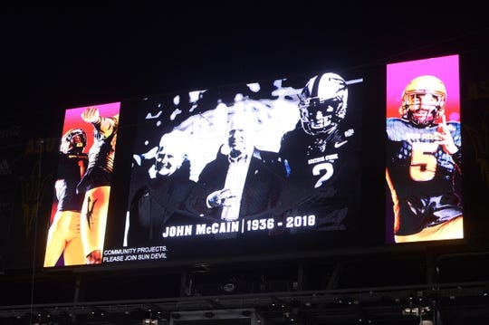 Sep 1, 2018; Tempe, AZ, USA; Tribute is paid to the late Senator John McCain during the first half of a game between the Arizona State Sun Devils and the UTSA Roadrunners at Sun Devil Stadium. Mandatory Credit: Joe Camporeale-USA TODAY Sports