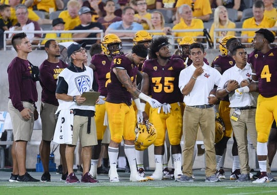 Sep 1, 2018; Tempe, AZ, USA; Arizona State Sun Devils safety Jalen Harvey (43) reacts after being ejected for targeting during the first half against the UTSA Roadrunners at Sun Devil Stadium. Mandatory Credit: Joe Camporeale-USA TODAY Sports