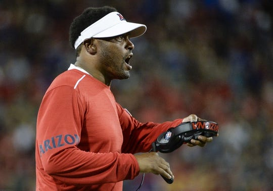 Sep 1, 2018; Tucson, AZ, USA; Arizona Wildcats head coach Kevin Sumlin calls to his players during the second half against the Brigham Young Cougars at Arizona Stadium. Mandatory Credit: Casey Sapio-USA TODAY Sports