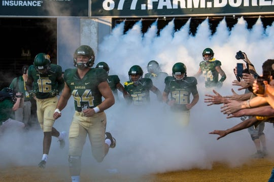 Sep 1, 2018; Waco, TX, USA; The Baylor Bears take the field to face the Abilene Christian Wildcats at McLane Stadium. Mandatory Credit: Jerome Miron-USA TODAY Sports