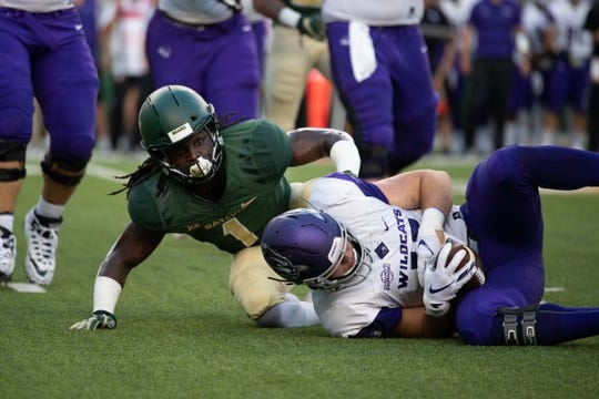 Sep 1, 2018; Waco, TX, USA; Baylor Bears safety Verkedric Vaughns (1) in action during the game against the Abilene Christian Wildcats at McLane Stadium. Mandatory Credit: Jerome Miron-USA TODAY Sports
