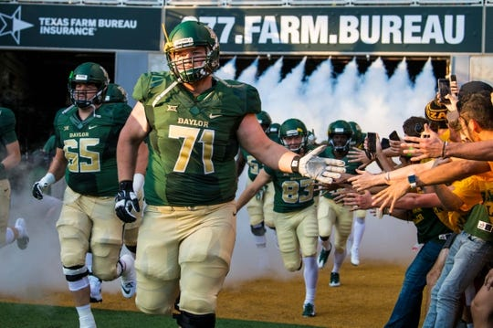 Sep 1, 2018; Waco, TX, USA; Baylor Bears offensive lineman Jim Threet (71) takes the field to face the Abilene Christian Wildcats at McLane Stadium. Mandatory Credit: Jerome Miron-USA TODAY Sports