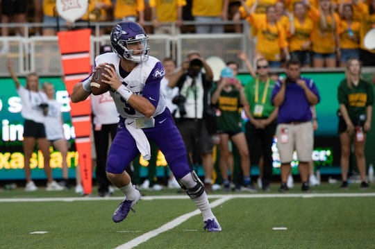 Sep 1, 2018; Waco, TX, USA; Abilene Christian Wildcats quarterback Luke Anthony (3) in action during the game against the Baylor Bears at McLane Stadium. Mandatory Credit: Jerome Miron-USA TODAY Sports