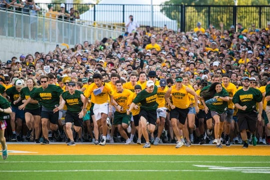 Sep 1, 2018; Waco, TX, USA; The Baylor Bears fans and students run on to the field before the game between the Baylor Bears and the Abilene Christian Wildcats at McLane Stadium. Mandatory Credit: Jerome Miron-USA TODAY Sports