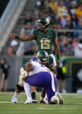 Sep 1, 2018; Waco, TX, USA; Baylor Bears quarterback Jalan McClendon (19) in action during the game against the Abilene Christian Wildcats at McLane Stadium. Mandatory Credit: Jerome Miron-USA TODAY Sports