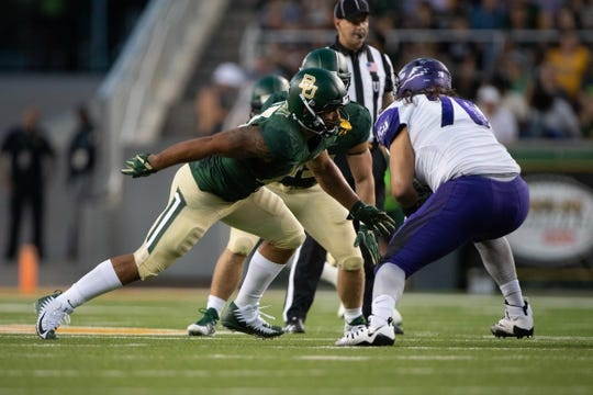 Sep 1, 2018; Waco, TX, USA; Baylor Bears defensive end James Lockhart (43) in action during the game against the Abilene Christian Wildcats at McLane Stadium. Mandatory Credit: Jerome Miron-USA TODAY Sports