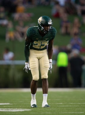 Sep 1, 2018; Waco, TX, USA; Baylor Bears cornerback Derrek Thomas (23) in action during the game against the Abilene Christian Wildcats at McLane Stadium. Mandatory Credit: Jerome Miron-USA TODAY Sports